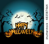 halloween background design and ... | Shutterstock .eps vector #483587464
