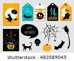 halloween  set. gift cards ... | Shutterstock .eps vector #483589045