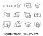 e learning line icons | Shutterstock .eps vector #483597595