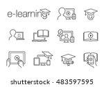 e learning line icons | Shutterstock .eps vector #483597595
