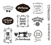 vector set of hand drawn doodle ... | Shutterstock .eps vector #483598621