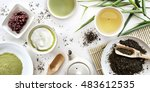japanese green tea set on white ... | Shutterstock . vector #483612535