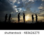 silhouette of young people at... | Shutterstock . vector #483626275