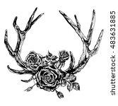hand drawn reindeer antlers and ... | Shutterstock .eps vector #483631885