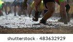 mud race runners.crawling... | Shutterstock . vector #483632929