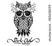 stylish dark owl deer horns .... | Shutterstock .eps vector #483638359
