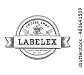 vintage round coffee shop label ... | Shutterstock .eps vector #483641509