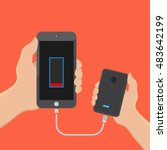 hand hold smartphone and charge ... | Shutterstock .eps vector #483642199