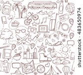 travel and tourism hand drawn... | Shutterstock .eps vector #483650974