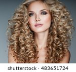 beautiful blonde woman. healthy ... | Shutterstock . vector #483651724