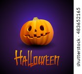 halloween pumpkin carved... | Shutterstock .eps vector #483652165