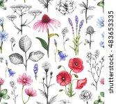 wild flowers illustrations.... | Shutterstock . vector #483653335