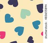 seamless hearts pattern. vector ... | Shutterstock .eps vector #483655894