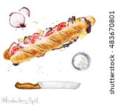watercolor food clipart  ...   Shutterstock . vector #483670801