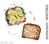watercolor food clipart   ... | Shutterstock . vector #483670831