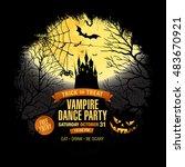 halloween party. vampire dance... | Shutterstock .eps vector #483670921