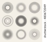vector radial gradient halftone ... | Shutterstock .eps vector #483672049
