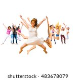 jumping together over white  | Shutterstock . vector #483678079