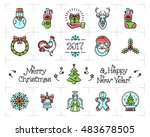 christmas icons set  new year... | Shutterstock .eps vector #483678505
