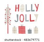 greeting card  merry christmas. ... | Shutterstock .eps vector #483679771
