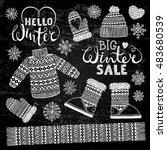 set drawings knitted woolen... | Shutterstock .eps vector #483680539