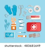flat lay 3d first aid kit   red