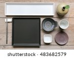 flat lay art stylish japanese ... | Shutterstock . vector #483682579