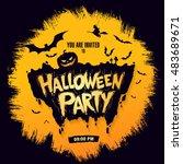 halloween party. vector... | Shutterstock .eps vector #483689671