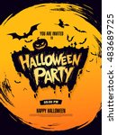 halloween party. vector... | Shutterstock .eps vector #483689725