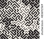 seamless pattern with maze.... | Shutterstock .eps vector #483692569