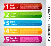 5 colorful banners with numbers ... | Shutterstock .eps vector #483698569