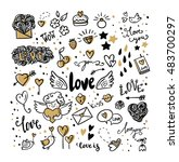 set of romantic vector icon in... | Shutterstock .eps vector #483700297