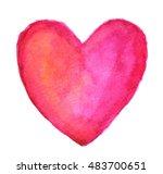 pink heart in watercolor | Shutterstock . vector #483700651