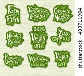 set of stickers. vegan menu ... | Shutterstock .eps vector #483711904