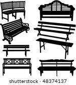 bench silhouette   vector | Shutterstock .eps vector #48374137