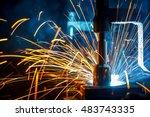 the welding robots represent... | Shutterstock . vector #483743335