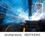 welding robots movement auto... | Shutterstock . vector #483743341