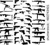 big weapons collection   vector | Shutterstock .eps vector #483743401