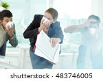 three business people in gas... | Shutterstock . vector #483746005