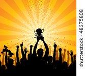 cheering crowd | Shutterstock .eps vector #48375808