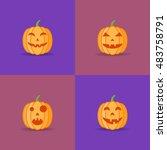 set of halloween pumpkins with... | Shutterstock .eps vector #483758791