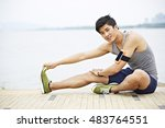 young handsome asian jogger... | Shutterstock . vector #483764551
