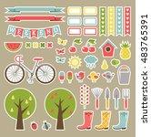 scrapbook garden tools. vector | Shutterstock .eps vector #483765391