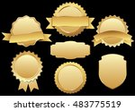 label vector icon set gold... | Shutterstock .eps vector #483775519