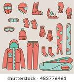snowboard flat line icons. set... | Shutterstock .eps vector #483776461