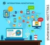 international negotiations... | Shutterstock . vector #483777061