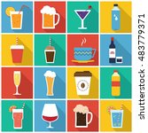 Drinks icon set in flat style with long shadow, isolated vector illustration on colors transparent background | Shutterstock vector #483779371