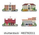 municipal buildings icons set... | Shutterstock . vector #483782011