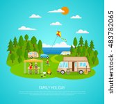 family camping by the sea with ... | Shutterstock . vector #483782065