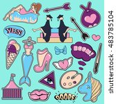 fashion patch badges with lips  ... | Shutterstock .eps vector #483785104